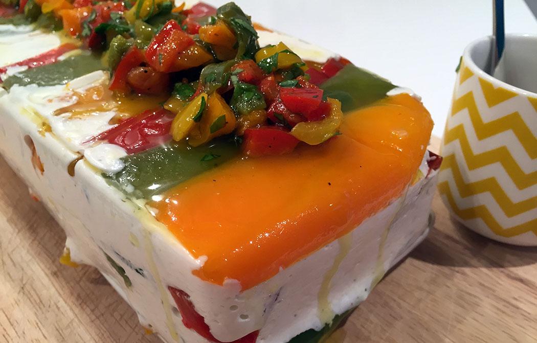 Terrine aux poivrons et fromage de chèvre